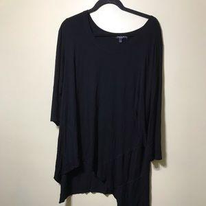 Black asymmetrical tunic top